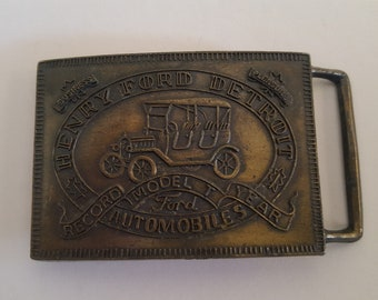 Cast Brass belt buckle with bronze finish, Ford Automobiles, Henry Ford Model T record year production, 1970's