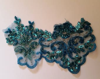 1 applique tulle topaz blue lace with pearls and sequins 15 cm X 10 cm