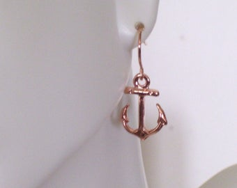 Rose Gold Anchor Earrings, Minimalist Earrings, Rose Gold Earrings, Dainty Earrings, Everyday Earrings, Nautical Earrings, Beach Wedding