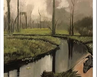 11 x 14 hand signed Louisiana Bayou print. Frame Not Included.