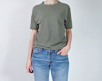 SALE 50% OFF 70s distressed army fatigues khaki t-shirt