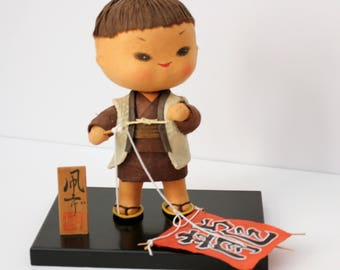 Japanese Boy with Mini Kite Doll, Vintage Japan Kite Flying Figure on Stand with Sign