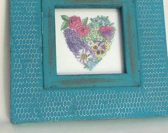 Framed Flower Heart