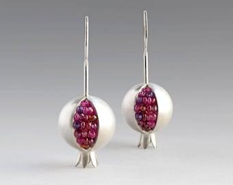 Pomegranate Earrings - Ruby Silver Earrings - Garnet Silver Earrings - Pomegranate Silver Earrings - Pomegranate Jewelry - Amethyst Earrings