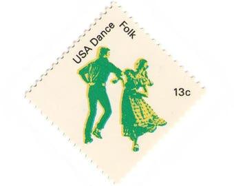 Unused 1978 Folk Dance - American Dance - Vintage Postage Stamps Number 1751