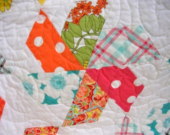Modern Bright Colorful Quilt--Free Shipping