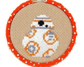 BB-8 Star Wars Inspired 3inch 8cm Cross Stitch-Geekery-Sci-FI-Original Design Ready to Hang-Mancave Decor-May the Fourth-Robot-Droid-Fan art