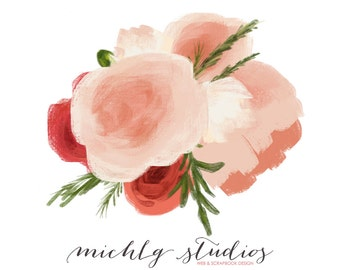 Floral digital clip art, flower bouquet, wedding, diy wedding, florals, watercolor, hand made, graphics, floral elements, watercolour, 0019