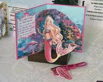 Handmade Barbie Mermaid pop up cards