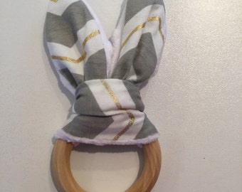 Grey and Gold Chevron Bunny-Ear Teether