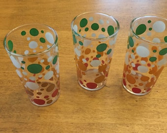 Vintage Green, Red, Orange, and White Dot Juice Glasses (3)