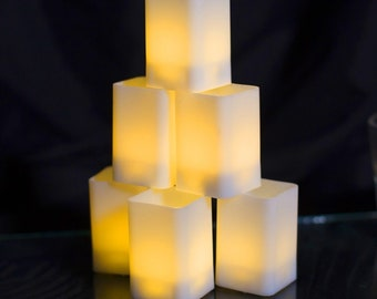 Medium LED Square Candle Batteries Included -Votive -Warm White-Wedding-Party-Birthday-Bridal Shower-Sweet 16 - Home Decor