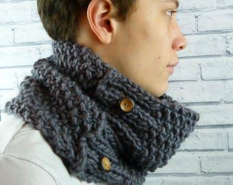 READY TO SHIP Men's Cowl, Gray Handknitted Cowl, scarf, neckwarmer 100% merino wool