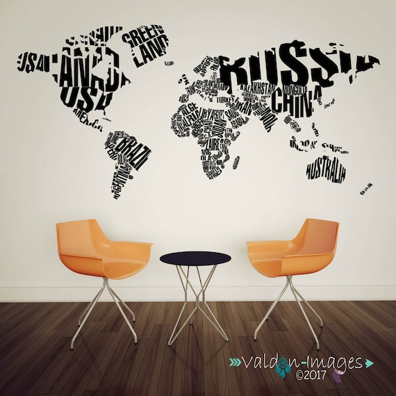 World map decor travel wall decal world map decal adventure gumiabroncs Image collections