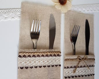 Burlap Silverware Holders, Table Decor, RusticSilverware Holders, Rustic table decor, Wedding Table Set, Burlap table decoration.