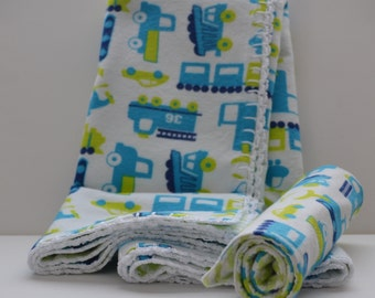 Baby Quilt/Blanket with Burp Cloths - Hand Crocheted Edging - Baby Shower Gift - Child Room Decor