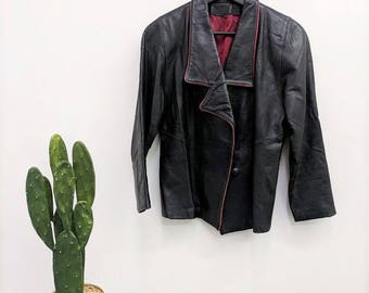 70s 80s Black Leather Jacket YSL Print Lining Black and Red Jacket Lapel Collar Pirate Steampunk Womens Cropped Leather Biker Jacket S/M