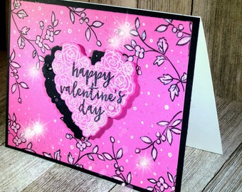 Valentine Card. Pink, black and white with tiny crystals