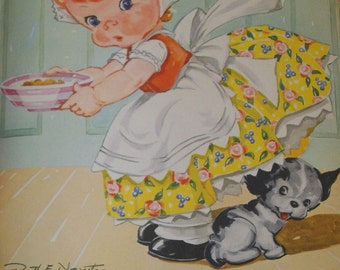 Vintage Ruth Newton Childrens Nursery Rhyme Book Print-Oh Where O Where has my little dog gone-Book Plate