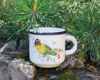 Soviet LOVEBIRD Cup / USSR Vintage Little White Enamel Mug, PARROT Print / 1960's Rustic Tea Cup, Camping, Picnic, Travel, Coffee Cup