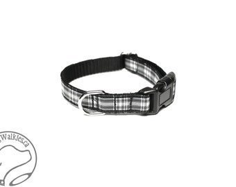 "Menzies Clan Tartan Small Dog Collar - Thin Dog Collar - 1/2"" (12mm) Wide - Black and White Plaid - Choice of style and size"