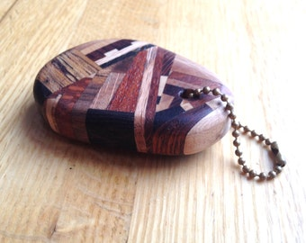 "Handmade ""Crazy Wood"" Wooden Keychain Key Fob"