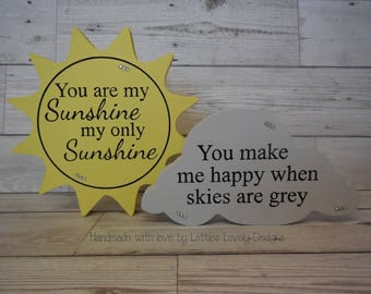 Freestanding Sun & Cloud quote plaques, You are my sunshine quote, Nursery gif, Mothers day gift