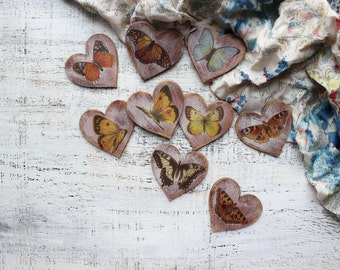 Butterfly wedding favors wooden heart ornaments guest favors bridal shower baby shower rustic