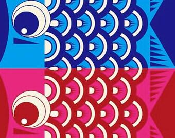 Furoshiki 'Koinobori Carp Streamers' Cotton Japanese Fabric w/Free Insured Shipping
