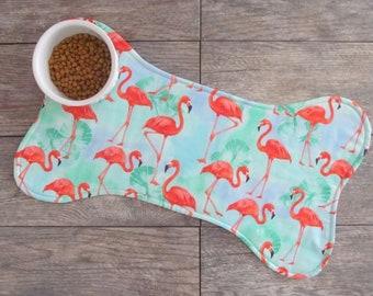 Dog Bone Placemat - Dog Placemat - Flamingos Dog Food Mat - Reversible Dog Food Placemat - Pet Placemat