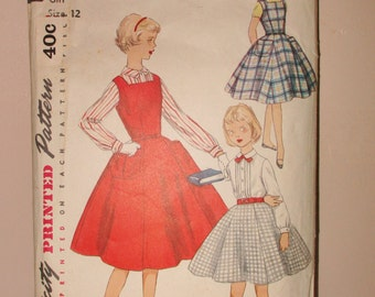 Vintage Simplicity Pattern 1955 girls dresses sz 12 Vintage Clothing and sewing