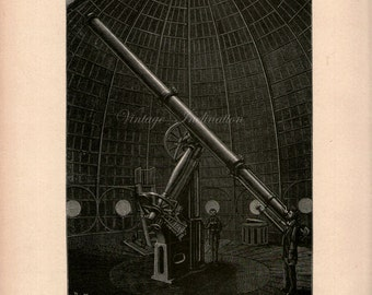 Astronomy Print 1890s PARIS EQUATORIAL TELESCOPE star constellations, chart,map, bookplate astronomical stars constellation astrology space
