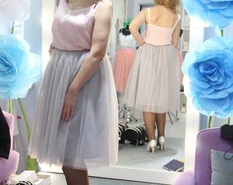 42 Mist Light Grey Tulle Skirt Casual tea length Women's, Grey Tulle Skirt Bridal, Tulle Skirt, Princess Skirt, Wedding Grey Tulle Skirt