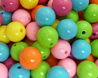 16mm Chunky Bubblegum Beads - Bulk 30pcs - Gumball Beads, Candy Color Beads, Chunky Beads, Round Beads, Acrylic Beads - BR1-1