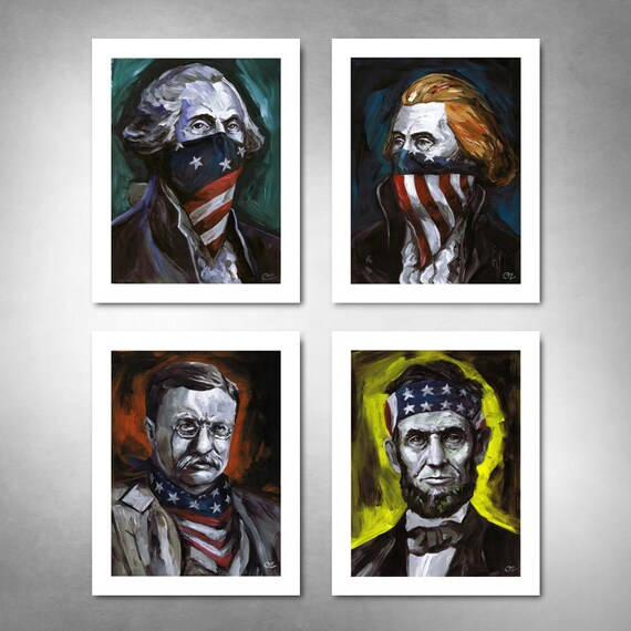 RUSHMORE OUTLAWS Set of (4) American Art Prints 11x14 by Rob Ozborne