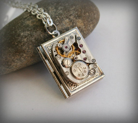 Steampunk jewelry steampunk book pendant locket steampunk book pendant locket necklace steampunk jewelry clockwork watch movement pendant aloadofball Image collections