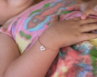 Infant Bracelet, Baby Bracelet, Child Bracelet, Rose Gold Heart Bracelet, Initial Bracelet, Baby Initial Bracelet, Baptism Gift