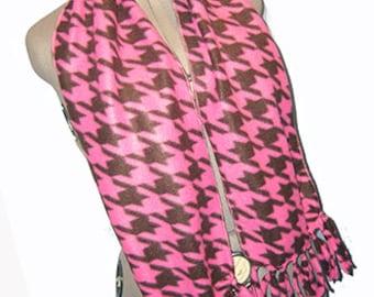 Houndstooth Scarf, Classic Elegance Muffler, Lolita Pink/Brown Bufanda