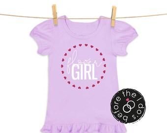 flowerGIRL {with Hearts} Tee for Little Girls /// Flower Shirt, Petal Shirt, Wedding Shirt | #1801
