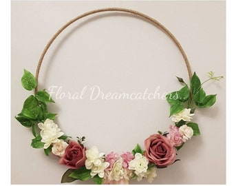 35cm Hessian hoop with roses and greenery.