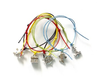 5 Pirate Mix Charm Friendship Bracelets - Skull Chest Fish Wheel Anchor - Boys Party Bags