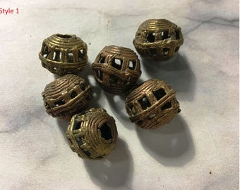 Vintage Baule brass hollow African bead