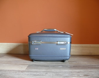 Metallic Blue American Tourister Train Case, Travel Makeup Overnight Case, Wedding Card, Case, Mid Century Luggage