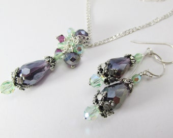 Amethyst Purple and Mint Green Bridal or Bridesmaid Necklace and Earring Set on fine sterling silver chain and wires