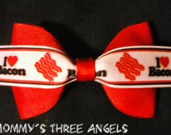 I Love Bacon/ Bacon Lovers Hair Bow/French Barrette MADE TO ORDER