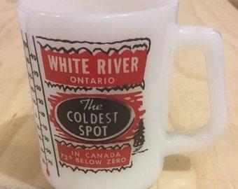 Vintage White River Ontario Coffee Mug Milk Glass Souvenir.  ID# 15-12