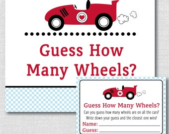 Race Car Baby Shower Guess How Many Wheels Game - Baby Shower Game - Race Car Baby Shower - INSTANT DOWNLOAD