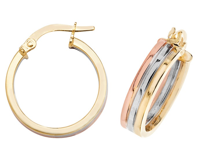 9ct Tri Colour Yellow Rose & White Gold Flat Hoop Earrings 15mm 20mm
