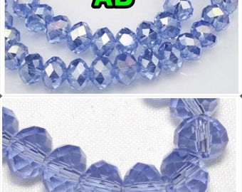 Choose your size: 8mm x 6mm / 6mm x 4mm / 4mm x 3mm / 3mm x 2mm swarovski Pearl rondelle faceted blue clear 8 mm x 6 mm 4 mm rondelle beads