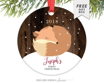 Baby's First Christmas Ornament Little Fox Ornament Personalized Children's Ornament Baby Boy Ornament Rustic Faux Wood Ornament Baby Fox